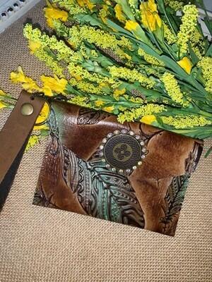 AU Brown Leather Wristlet