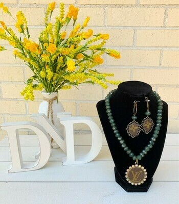 Authentic Upcycled Teal Glass Beaded Necklace