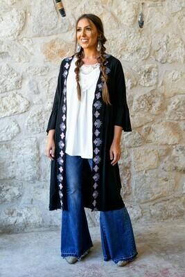 Black Kimono W/Embroidery