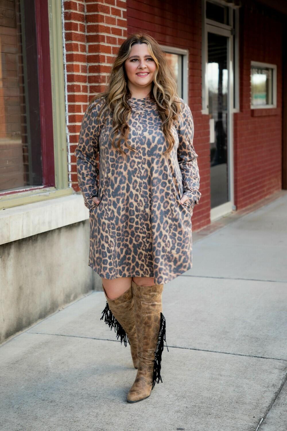 Leopard Flutter Dress