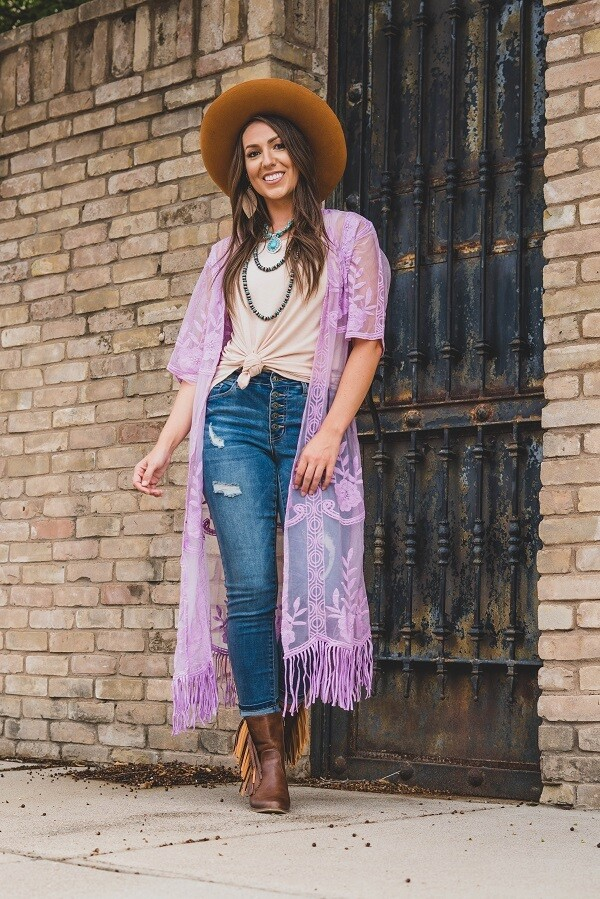Lilac Lace Kimono