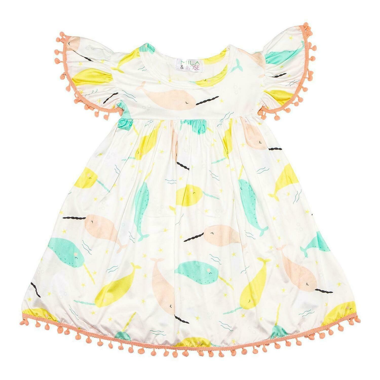 Pom Pom Dress - Narwhale