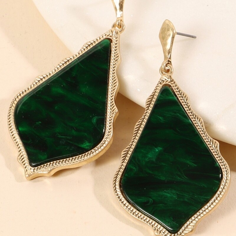 Rhombus Marbled Earring