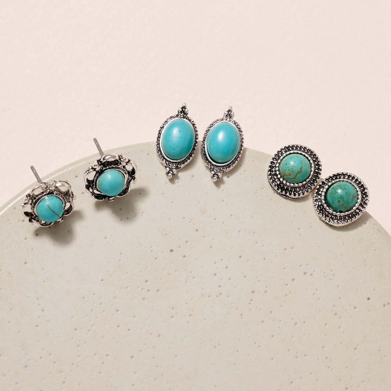 Stone Stud Earrings - Turquoise
