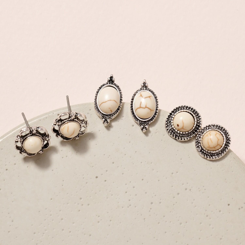 Stone Stud Earrings - How