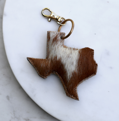 Keychain Clip TX Leather Tan/White