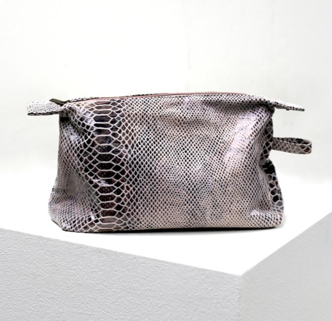 Python Print Leather Cosmetic Bag