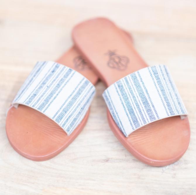 Jess Slide Sandals Gray/White