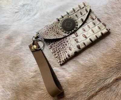 AU Cream Leather Wristlet