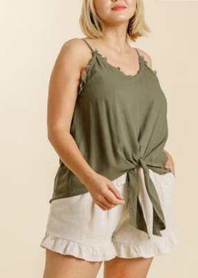 Spaghetti Strap Frayed Front Tie-able Knot Top
