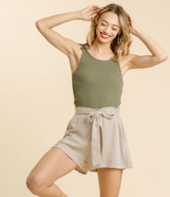 Elastic Back & Tie String Shorts w/ Pockets