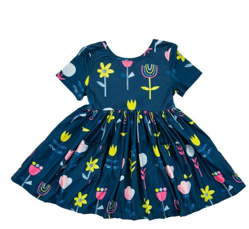 Rainbow Garden Short Sleeve Pocket Twirl dress