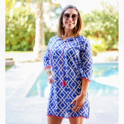 Delray Cover Up Lapis/White/Hot Pink