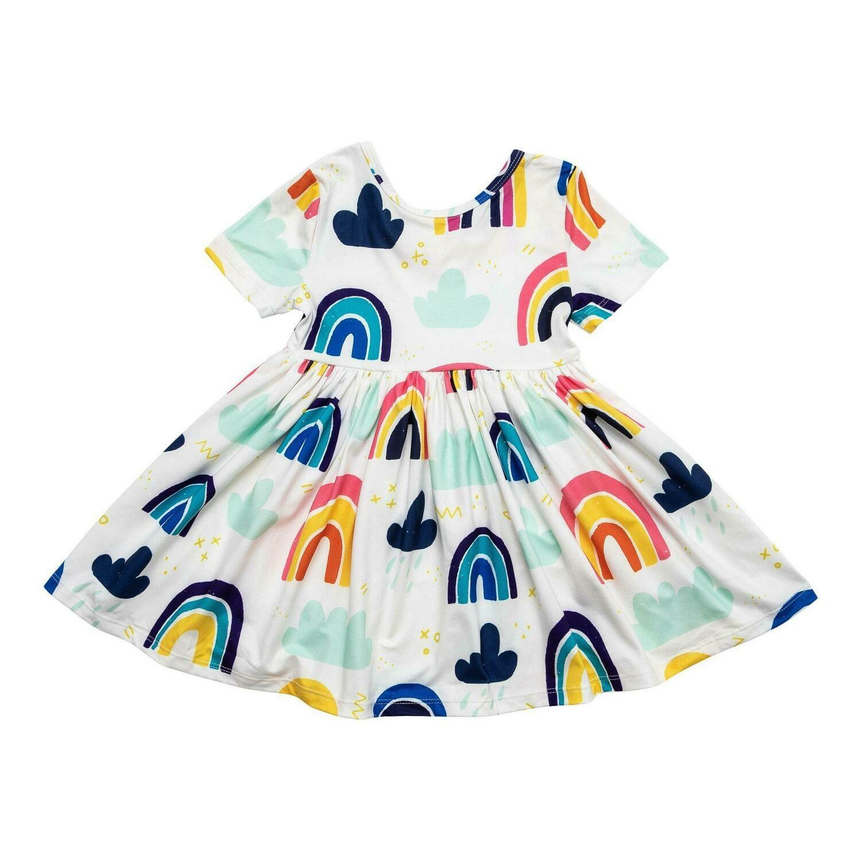 Rainy Day Short Sleeve Twirl Dress