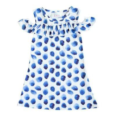 Indigo Dot Cold Shoulder Ruffle Dress 7/8