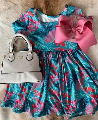Totally Tropical Short Sleeve Twirl Dress