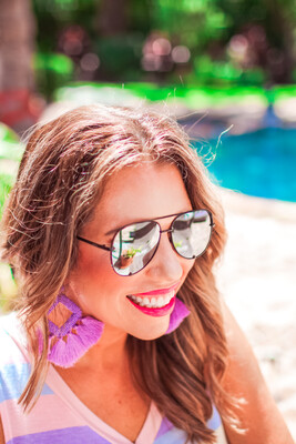 Blair Aviator Sunglasses - Gold/Pink