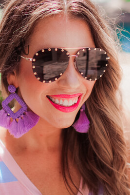 Showstopper Studded Aviator Sunglasses