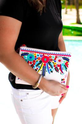 Cancun Embroidered Clutch