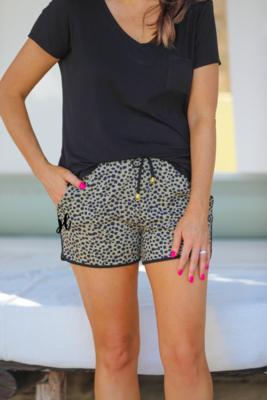 Animal Print Drawstring Shorts