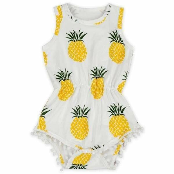 Pineapple Pom Pom Romper 6-12M