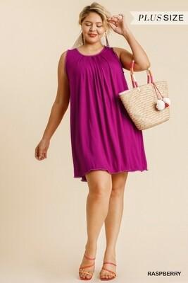 Round Neck Shift Dress w/ Crochet Trim