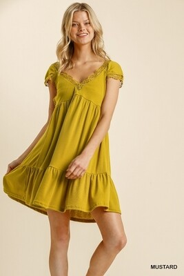Short Sleeve V-Neck Dress w/ Crochet Trim