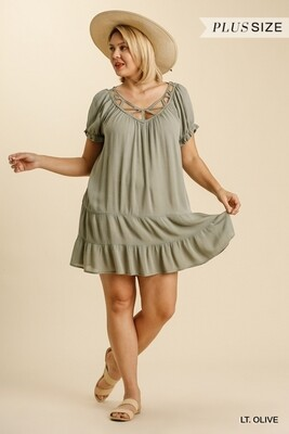 Short Ruffled Puff Sleeve Tiered Dress