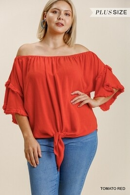 Layered Ruffle Sleeve Off Shoulder Top w/ Tie