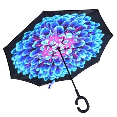 Bright Blue Flower Mosaic Double Layer Inverted Um