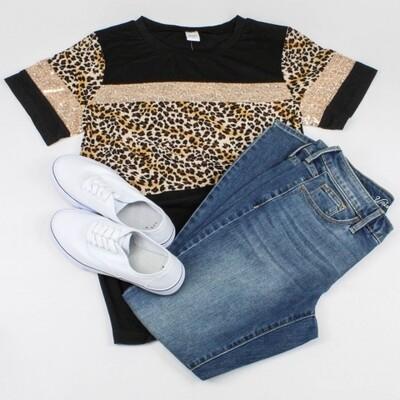 Black Leopard w/ Rose Gold Sequins Tee