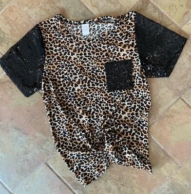 Leopard Black Sequin Tee