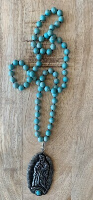 Virgin Mary Natural Turquoise Stone Pendant