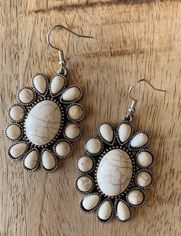 Double Concho Stone Earrings