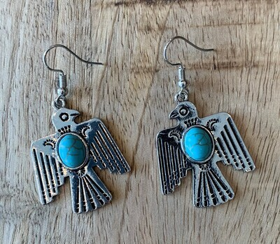 Thunderbird Turquoise Stone Earrings