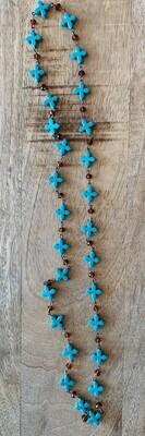 Cross Amber Beaded Short Necklace