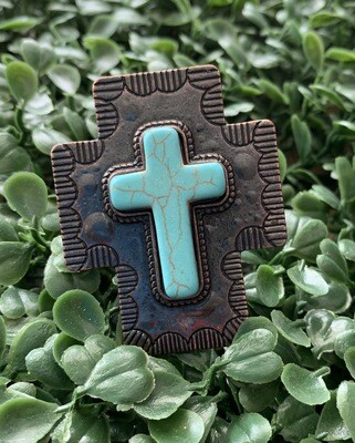 Adjustable Metal Turquoise Cross Ring