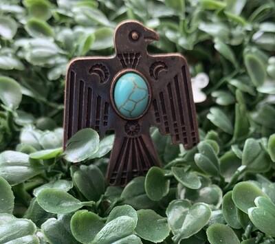 Adjustable Thunderbird Turquoise Stone Ring