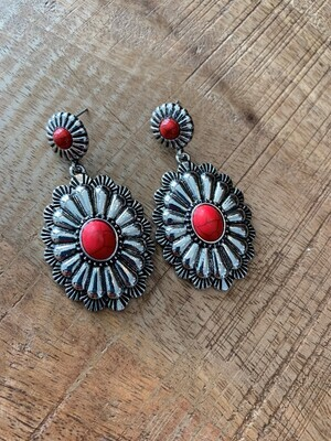 Dangly Silver Concho Stone Earrings