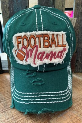 Hunter Green Football Mama Embroidered Patch Cap