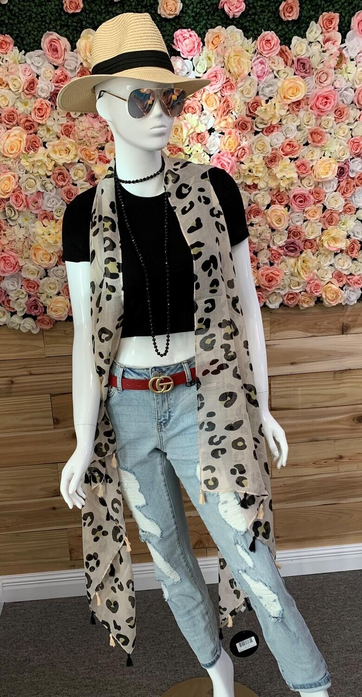 Leopard Vest Kimono