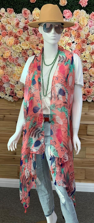 Pink Leaf Vest Kimono