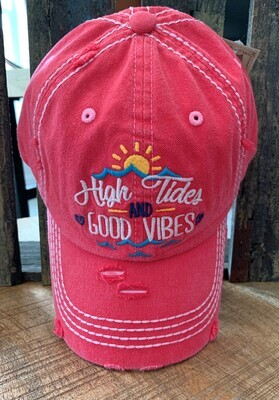 Pink Embroidered High Tides & Good Vibes Cap