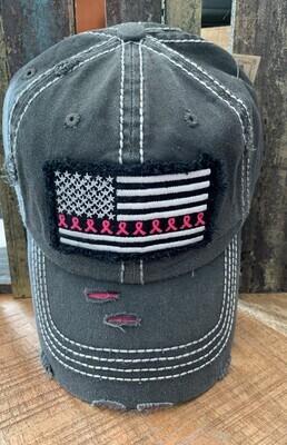 Grey Breast Cancer American Flag Patch Cap