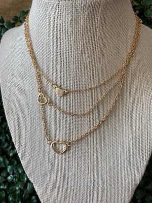 Gold Set of 3 Open Heart Necklace