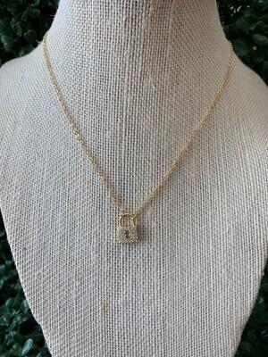 Gold Rhinestone Locket Necklace