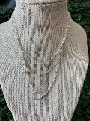 Silver Set of 3 Open Heart Necklace