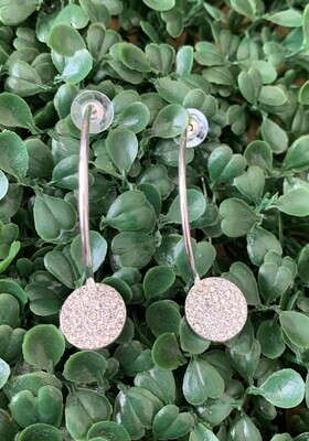 Gold Hoop W/Rhinestone Circle Earring