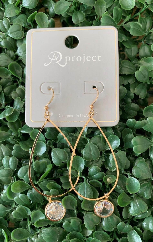 Open Gold Teardrop W/Crystal Circle Earring