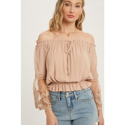 Lace Trim Bell Sleeves Blouse - Almond